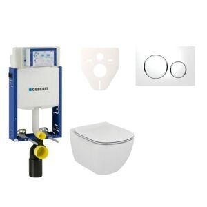 Závěsný set WC Ideal Standard Tesi + modul Geberit Kombifix s tlačítkem Sigma 20 (bílá/chrom lesk) 110.302.00.5 NF4