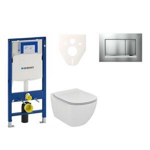 Závěsný set WC Ideal Standard Tesi + modul Geberit Duofix s tlačítkem Sigma 30 (chrom mat/lesk) 111.300.00.5 NF7