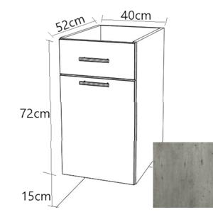 Kuchyňská skříňka zásuvková spodní Naturel Gia 40x72 cm beton BZ14072BE