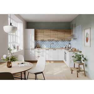 Kuchyňská linka Naturel Easy24 rohová 210x300x60 cm, bílá lesk + dub EASYSET7
