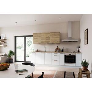Kuchyňská linka Naturel Easy24 300x60 cm, bílá lesk + dub EASYSET8
