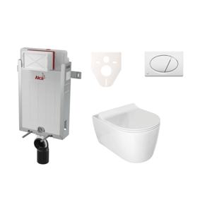Závěsný set WC ALFA rim-ex, nádržka Alcaplast Renovmodul, tlačítko bílé SIKOAA1