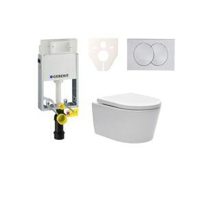 Závěsný set WC SAT Brevis, nádržka Geberit Kombifix, tlačítko bílé SIKOGE1W7