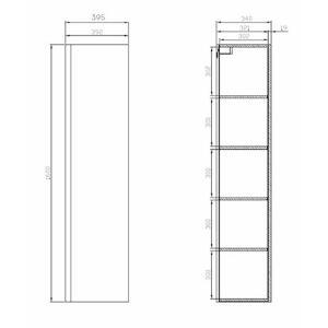 Koupelnová skříňka vysoká Cersanit Dormo 40x34x160 cm bílá lesk S929-020